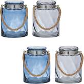 Amalfi by Rangoni Lexis Hurricane Candle Holder, Blue/Smoke (Set of 4)