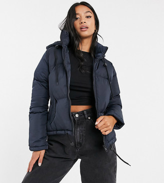 Brave Soul Petite cello hooded puffer jacket