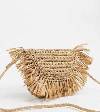 South Beach Exclusive half moon frayed straw clutch bag with detachable strap