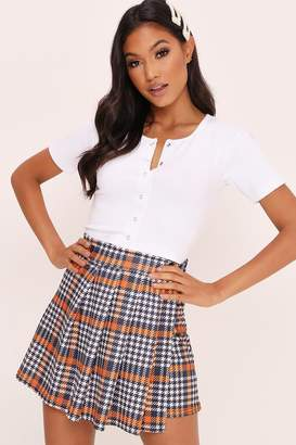 I SAW IT FIRST Orange Dogstooth Checked Pleated Skirt