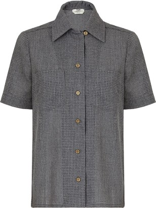 Fendi Perforated Short-Sleeve Shirt