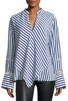 Derek Lam Lace-Inset Striped Silk Blouse w/ Handkerchief Hem