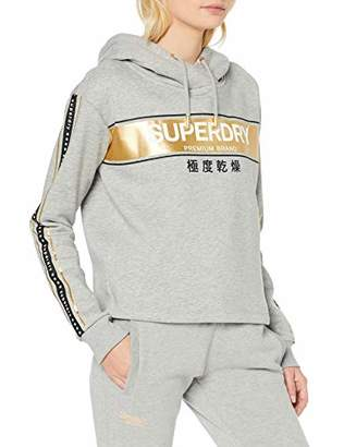 Superdry Women's Alice Crop Hood Hoodie, Sand Grey Marl V2c, Small (Size: )