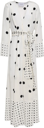 We Are Leone Belted Polka-dot Silk Crepe De Chine Robe