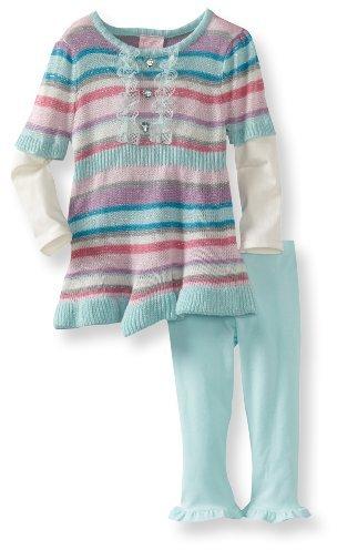 Nannette Baby-Girls Infant 2 Piece Stripes Sweater Set