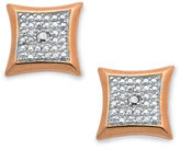 Townsend Victoria 18k Rose Gold over Sterling Silver Earrings, Diamond Accent Square Stud Earrings