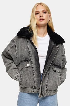 Topshop Womens Grey Acid Wash Borg Lined Denim Jacket - Black