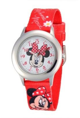 Disney Girls' Stainless Steel Glitz Case Watch, Fabric Printed Strap