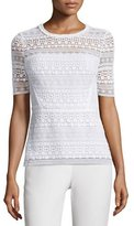 DKNY Diondora Half-Sleeve Lace Blouse, Optic White