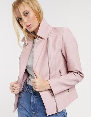Only melanie faux leather biker jacket in lilac