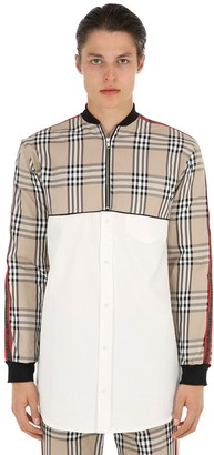 Andrea Crews Bomber Shirt W/ Checked Panels