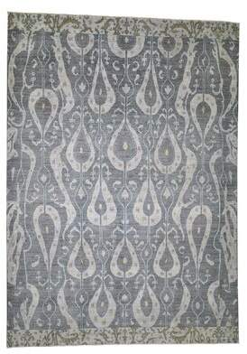 Sigrid World Menagerie One-of-a-Kind Ikat Design Hand-Knotted 10' x 14' Wool Gray/Beige Area Rug World Menagerie