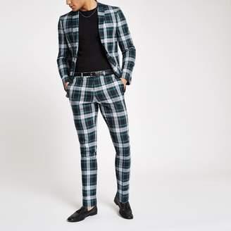 River Island Mens Green tartan super skinny fit suit trousers