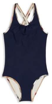 Burberry Little Girl's& Girl's One-Piece Check-Trim Swimsuit