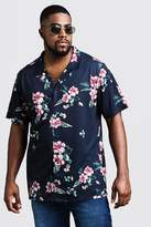 BoohooMAN Big & Tall Floral Print Revere Jersey Shirt