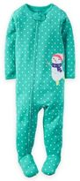 Carter's Green Dot Snowman Pajama