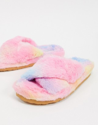 Steve Madden Fuzed slip on fluffy slippers in pink
