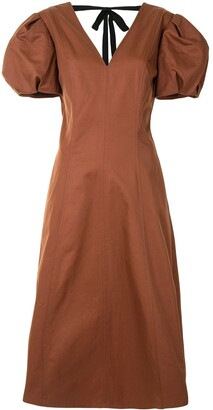Rebecca Vallance Helke puff-sleeve midi dress