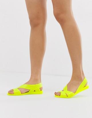 Asos Design DESIGN Lunar jelly ballet flats-Yellow