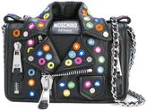 Moschino mirror embellished Biker shoulder bag - women - Goat Skin/Leather/Nylon/glass - One Size