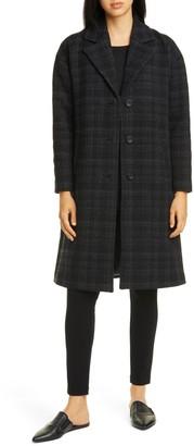 Eileen Fisher Plaid Notch Collar Coat