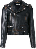 Saint Laurent Motorcycle jacket - women - Cotton/Calf Leather/Polyester/Cupro - 40