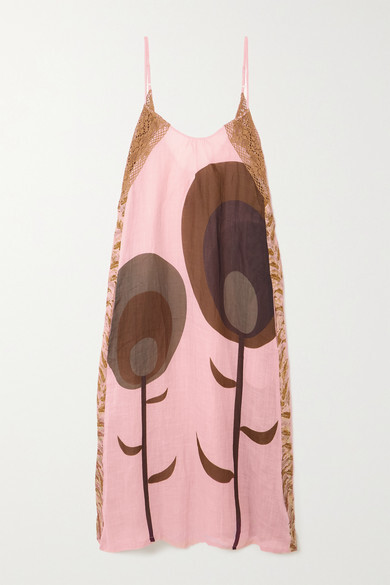 Thumbnail for your product : Yvonne S Crochet-trimmed Printed Linen Maxi Dress - Antique rose