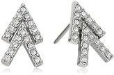 Rebecca Minkoff Double V Silver with Crystal Stud Earring