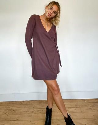 ASOS DESIGN super soft mini wrap dress in brown