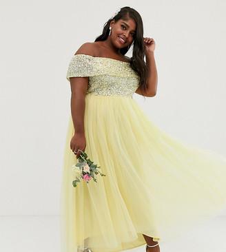 Bardot Maya Plus Bridesmaid delicate sequin high low maxi dress in lemon