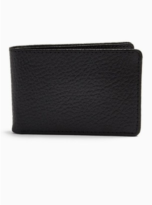 Topman Mens Black Leather Bi-Fold Card Holder