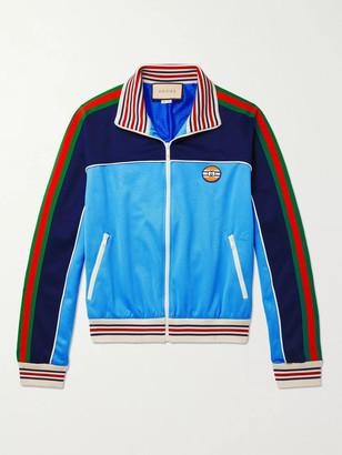 Gucci Striped Webbing-Trimmed Colour-Block Tech-Jersey Track Jacket - Men - Blue