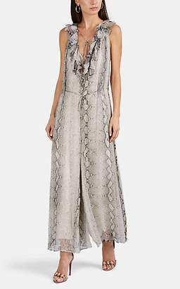 Zimmermann Women's Python-Print Silk Belted Jumpsuit