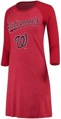 Majestic Women's Threads Red Washington Nationals Tri-Blend 3/4-Sleeve Raglan Dress