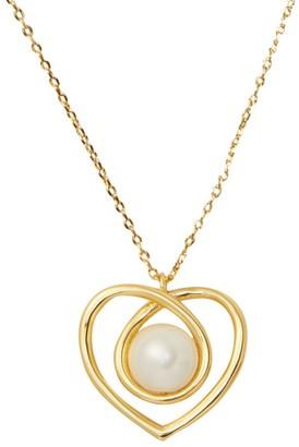 Kate Spade Infinite Hearts Glass Pearl Goldtone Pendant Necklace