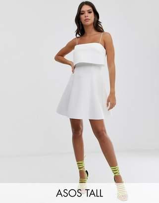 Asos Tall DESIGN Tall crop top skater mini dress-White