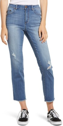 1822 Denim Ripped High Waist Crop Straight Leg Jeans
