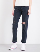 Levi's 505 cropped straight mid-rise jeans