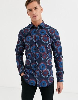 Selected slim fit geo floral print shirt in navy
