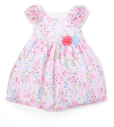 Laura Ashley Pink Floral Ruffle Sleeve Dress - Infant Toddler & Girls