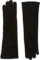 Barneys New York Women's Whipstitched Suede Gloves-BLACK