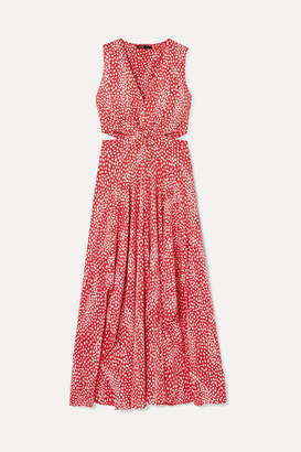 Maje Renila Cutout Leopard-jacquard Maxi Dress - Red