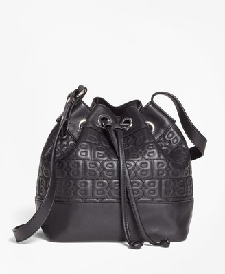 """Brooks Brothers BB"""" Quilted Leather Bucket Bag"""