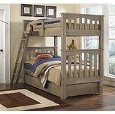 NE Kids Highlands Harper Twin over Twin Bunk with Trundle in Driftwood