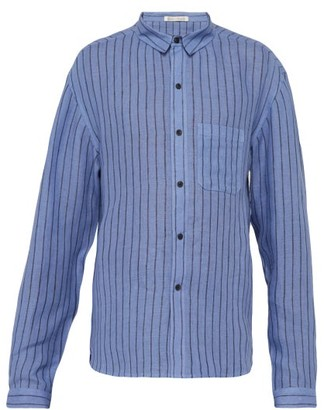 Denis Colomb Marcello Striped Slubbed-linen Shirt - Blue