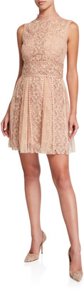 RED Valentino Mock-Neck Sleeveless Macrame Lace Mini Dress