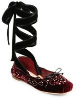 Miu Miu Studded Velvet Lace-Up Ballet Flats