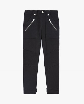 The Kooples Cargo-style black joggers with zip