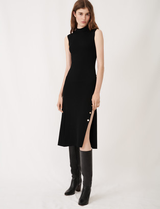 Maje Stretch knit slit dress