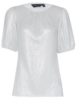 Dorothy Perkins Womens Silver Puff Sleeve Top, Silver